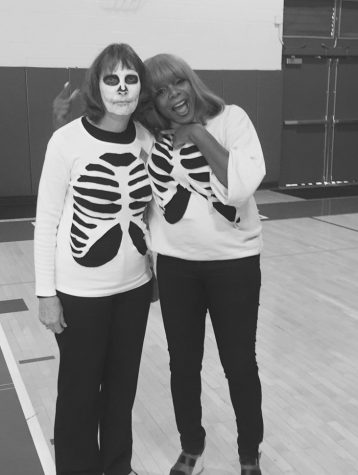 Our Finance Department representing with skeletons.