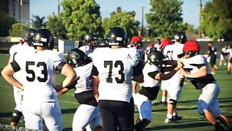 Servite football at practice getting ready for their upcoming game.  Photo by: Nolan Troxel