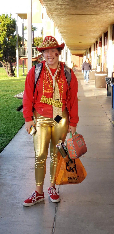 Our freshman class president, Frankie Carrasco-Passafiume, ready to rock.  Photo by Mrs. Reinbold.