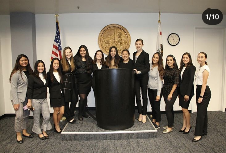Rosary Academy's prestigious Mock Trial Team at the Santa Ana Courthouse. Photo by Sylvia Cazarez.