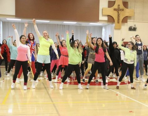 The seniors grooving to an 80s themed dance. Photo from Rosary