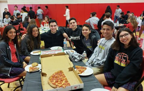 Servite, Rosary, and Connelly students enjoy each other's company.