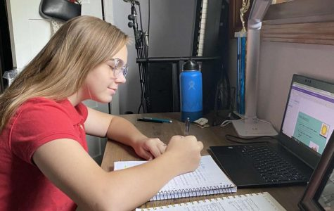 Clara Horeczko '24 and her setup for online school.