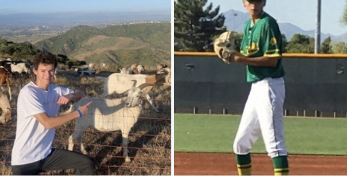 Photo Credits: Collin Middleton and Sandra Cardenas   Left: Jack Mura '21 hiking after quarantine. Right: Xavier Cardenas lll playing in Arizona after quarantine.