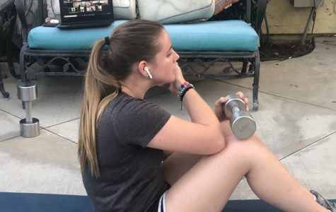 Author, Abigail Tice '22, attends her Zoom conditioning practice.