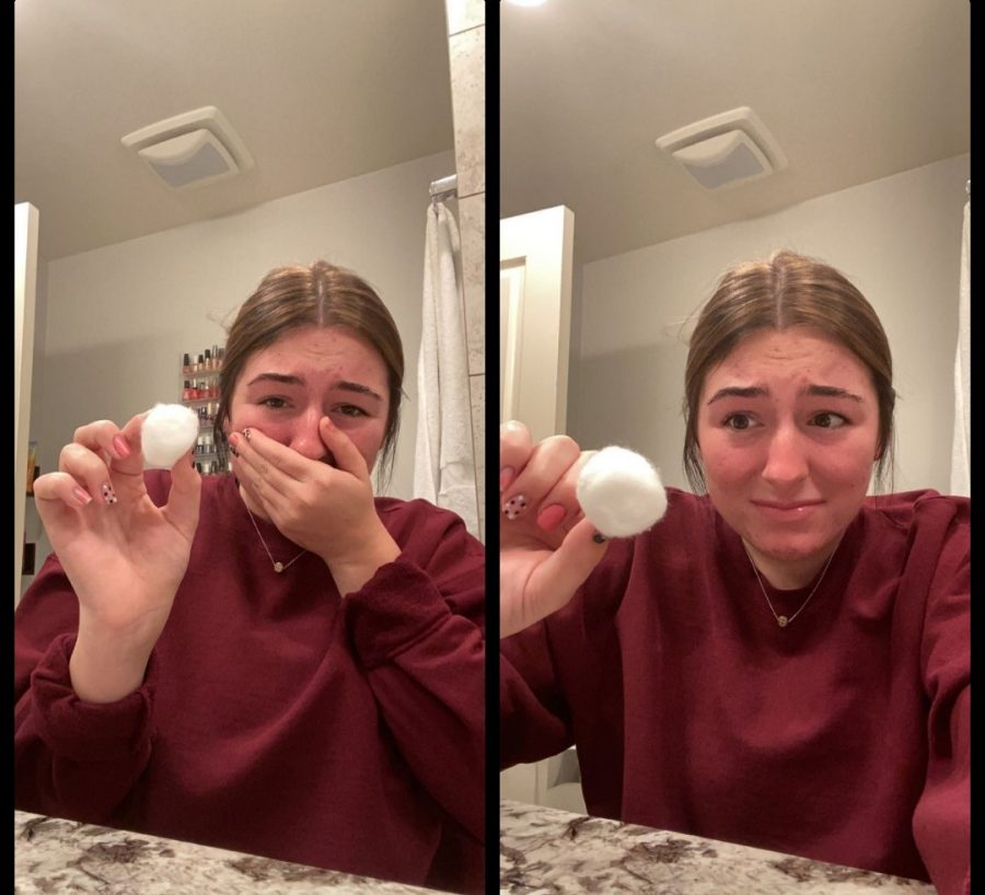 Caroline Linton confronting her fear of cotton balls.  Photo by Caroline Linton