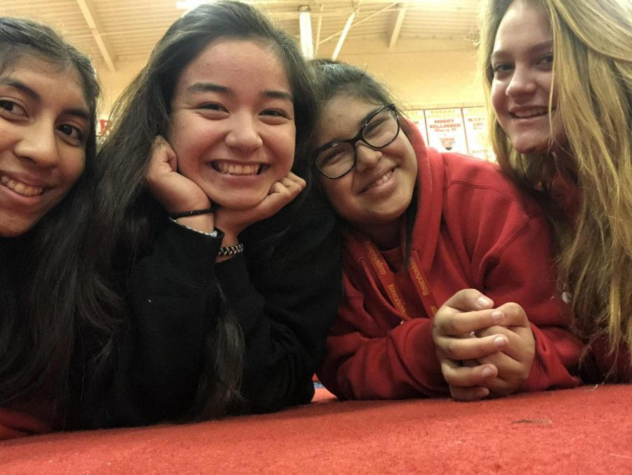 From left to right: Rosary seniors Noelle Bermudez, Alicia Ventura, Jonnie Robles, and Allison Mitts