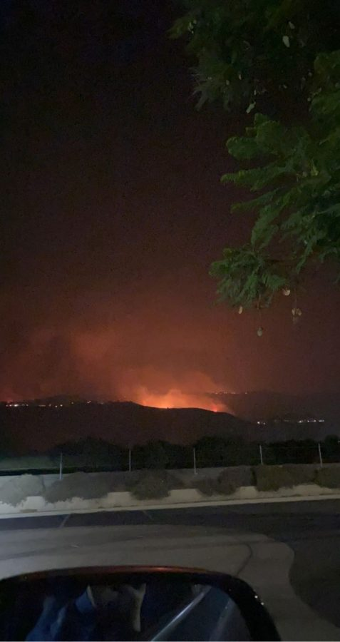 Fires in the hills of Yorba Linda. Photo provided by Kennedy O'Connell '22