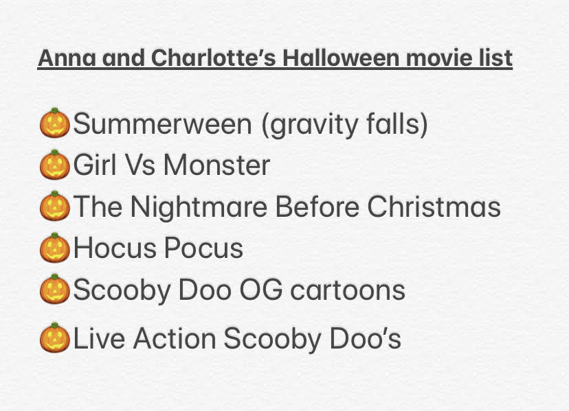 Anna and Charlotte's spooky movie night list shown above.