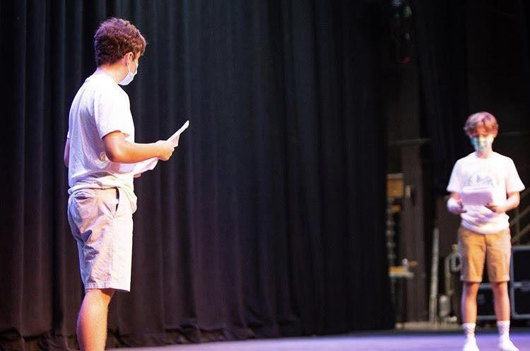 Matt Ellersick '23 and David Graham '22 reading at callbacks for the fall show Photo Credits: @servitehs on Instagram