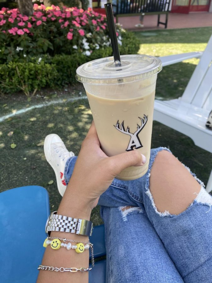 A heavenly iced vanilla latte. Photo provided by Hailey Yu '21.