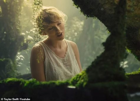 "Taylor Swift singing during her ""Cardigan"" music video. Photo by Google Images"