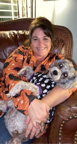 Maryanne Tice and dog, Sparki, on Halloween. Photo credit: Tice Family