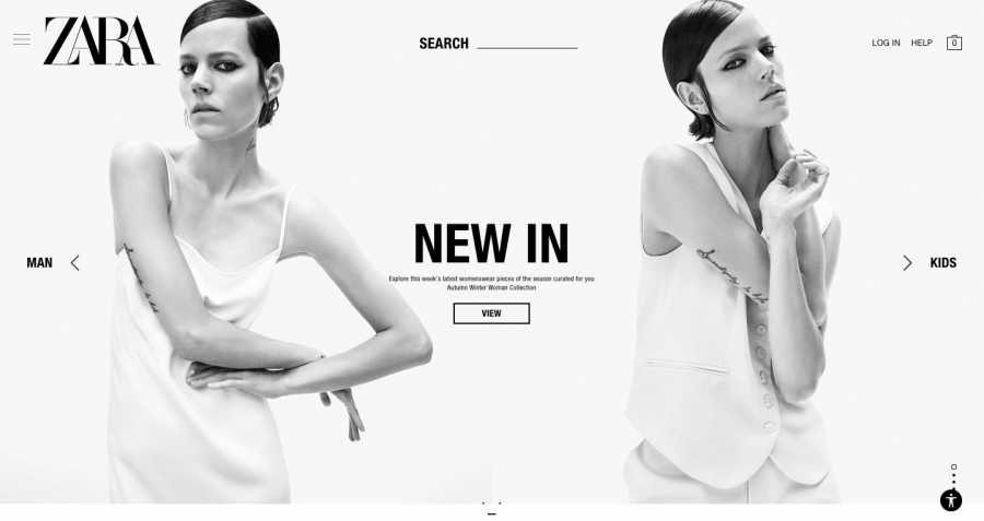 The Zara Website's main page is anything but easy to navigate.