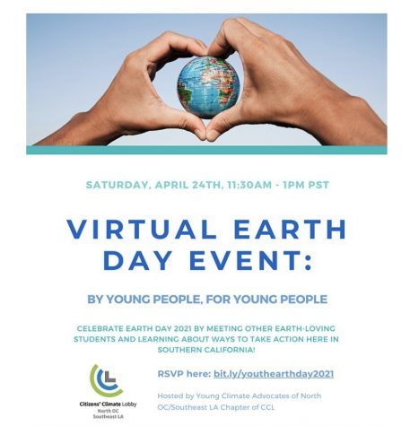 Virtual Earth Day Event flyer. Photo provided by Emma Tice
