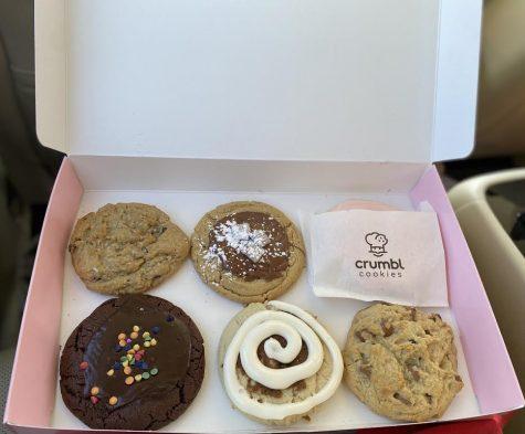 My box of six Crumbl cookies.