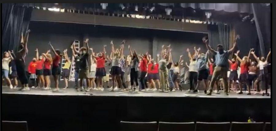 Students learn the audition dance alongside Mr. Marrone