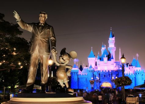 The iconic Walt Disney and Mickey Statue and the Sleeping Beauty Castle which the Juniors will soon use as a photo opt on Rosary Day (Friday, Oct. 8).
