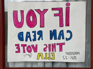 A unique freshman election poster.