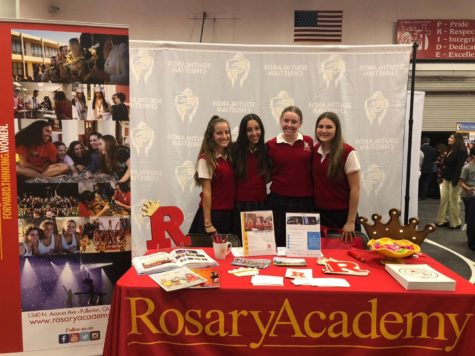 Rosary Ambassadors smiling before a school visit.