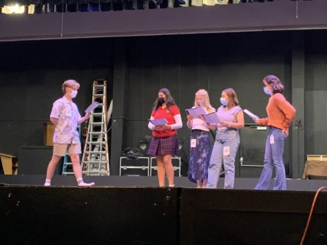 Rosary and Servite students perform a scene from Front during callbacks