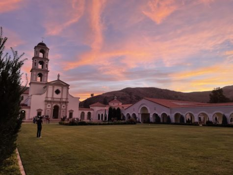 A beautiful sunset behind Our Lady of the Most Holy Trinity Chapel. Photo Provided by: Elena Walz.