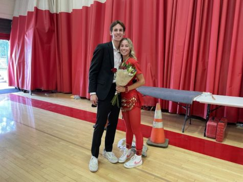 Ian Schutt 22 proposed to Olivia Eyler 22 in front of the whole school at the Homecoming Rally!