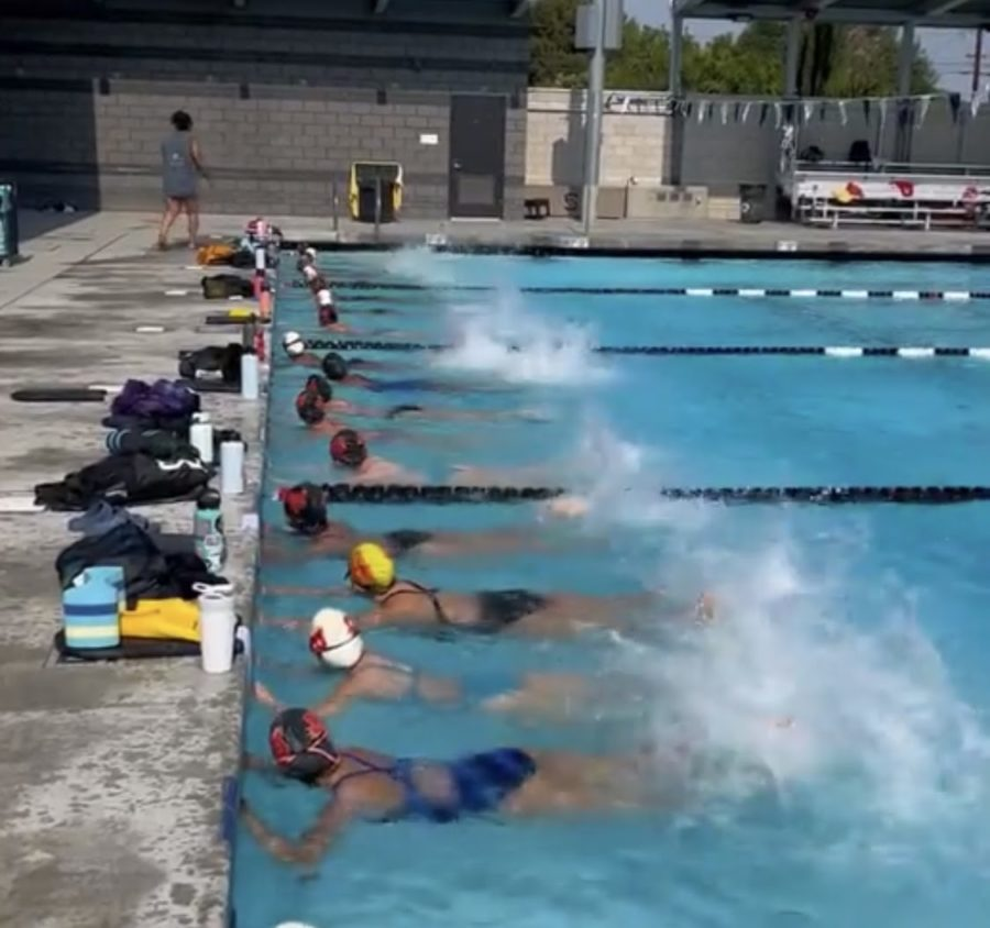 The Rosary swimmers warm up before laps in the pool. Image provided by Coach Jess.