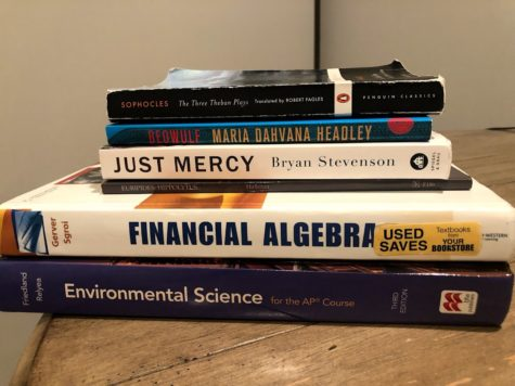 A small portion of my prized textbook collection.  Photo provided by: Elena Walz