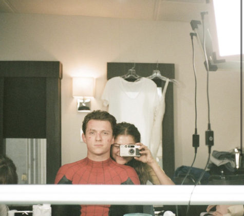 Love birds, Zendaya and Tom Holland, on the set of Spiderman.
